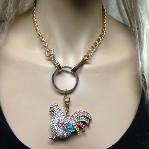 3-Way Multi color Rhinestone Rooster Necklace